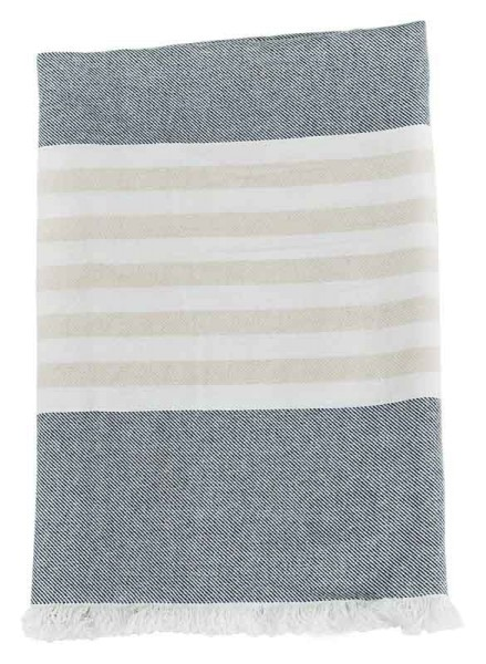 Serviette de plage (Turkish Towel) - coton gris / sable