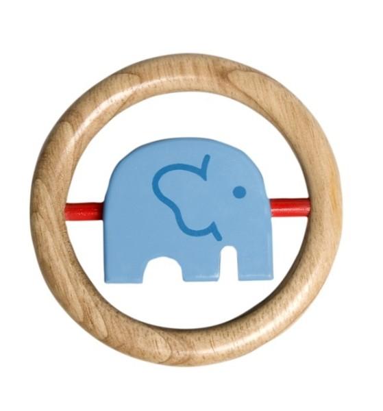 Anneau bois éléphant bleu