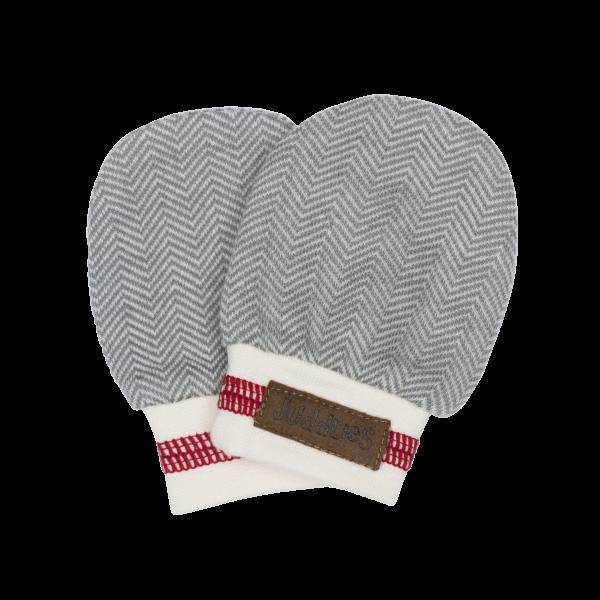 Moufles de naissance collection cottage en coton biologique grises