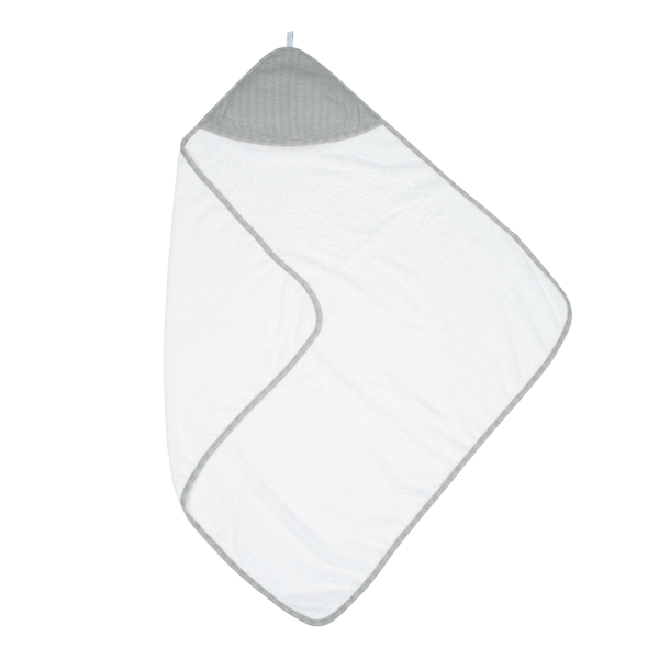Serviette à capuche en bambou blanc/gris