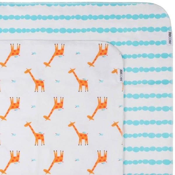 Couvertures flanelle (set de 2) - girafe/bleu