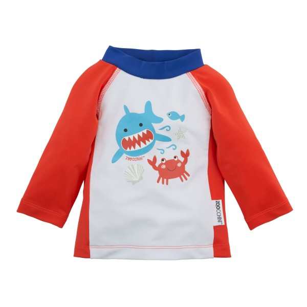 Tee-shirt anti UV rouge motif requin-crabe 6-12M