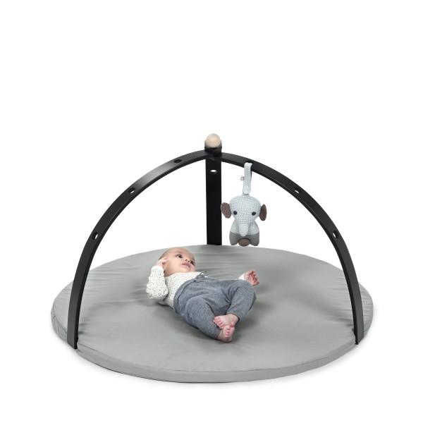 Portique d''éveil pour bébé en bois peint noir (vendu sans jouet)
