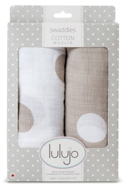 Muslin Baby Swaddle Mulltuch 2er Set (modern me collection) - cream polka dots