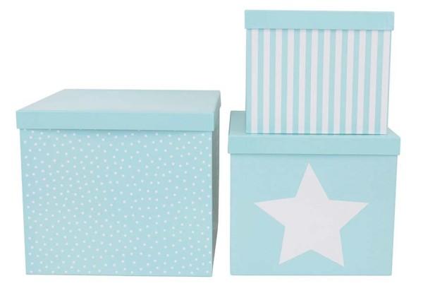 Set 3 boîtes cubes bleues