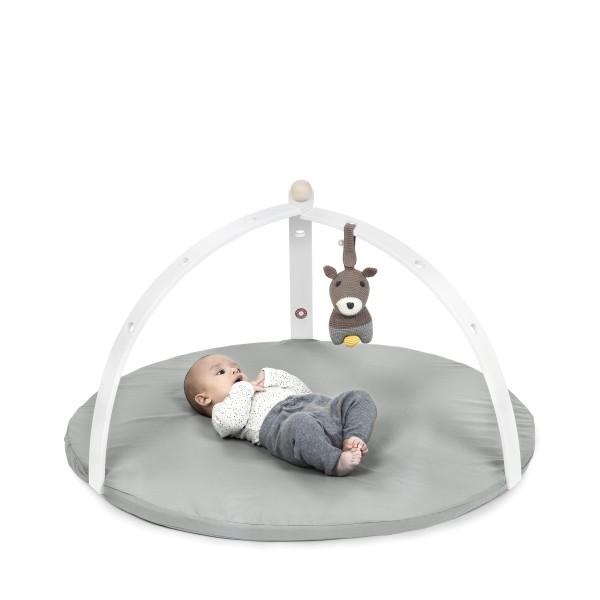 Portique d''éveil pour bébé en bois peint blanc (vendu sans jouet)