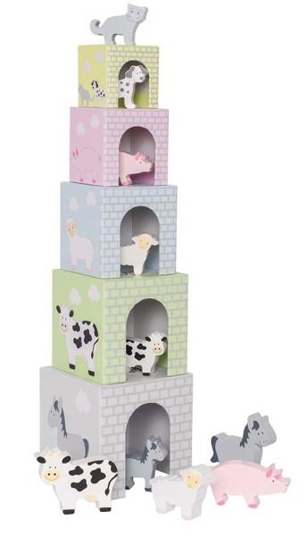 Cubes empilables 1-5 animaux de la ferme