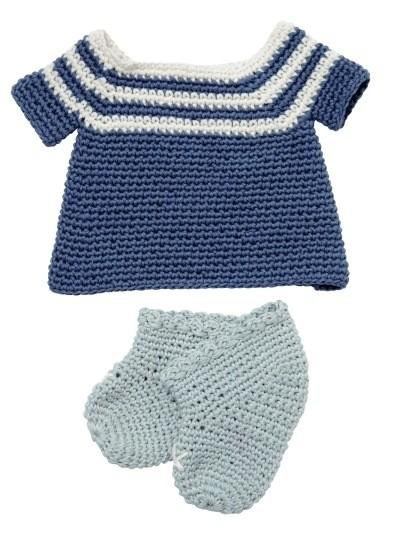 Petite robe crochets et chaussons pour poupée 32cm
