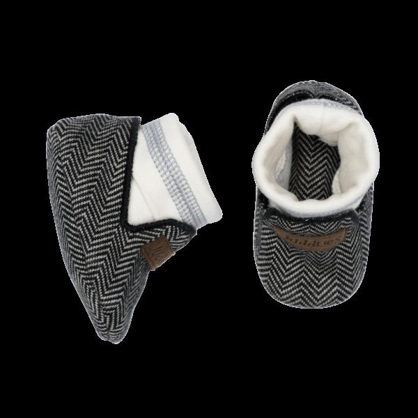 Chaussons collection cottage en coton biologique gris foncé