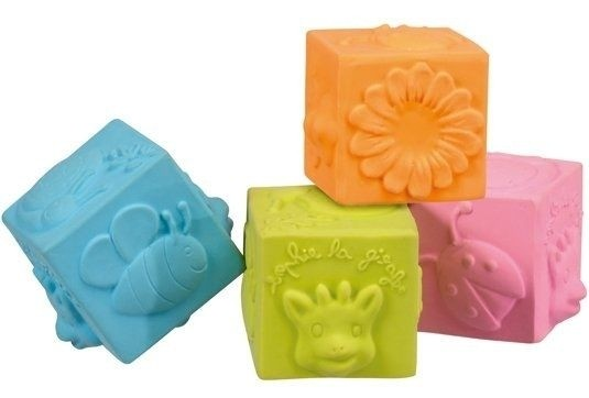 Cubes SO'PURE Sophie la girafe (4 cubes en caoutchouc naturel)