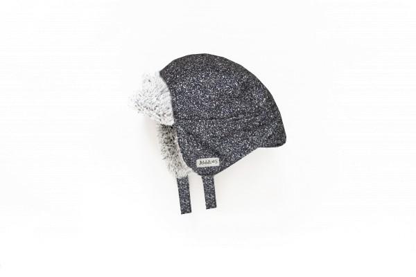 Bonnet d''hiver noir chiné 6-12 M