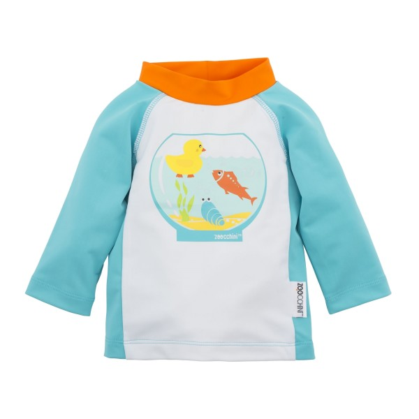 Tee-shirt anti UV bleu motif poissons 6-12M