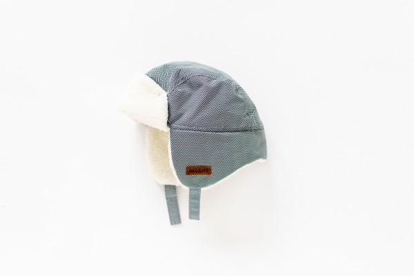 Bonnet d''hiver chevrons gris 6-12 M