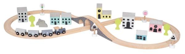 Coffret circuit train en bois