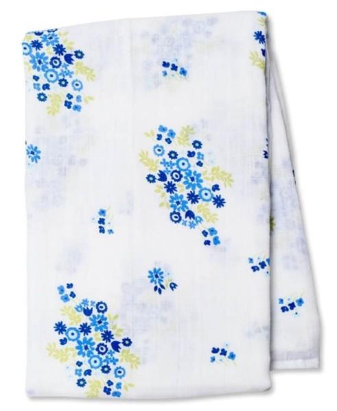 Lange mousseline bouquet bleu vintage