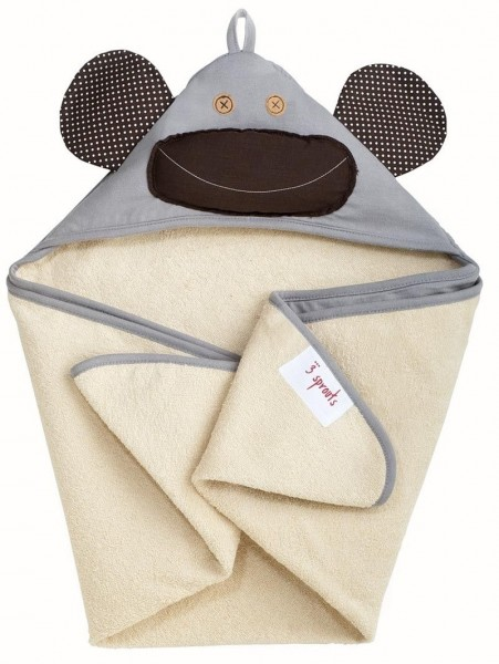 Kapuzenbadetuch Affe (grau)