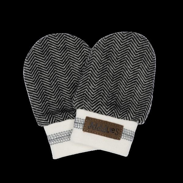 Moufles de naissance collection cottage en coton biologique gris foncé