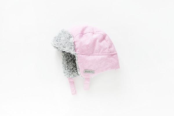 Bonnet d''hiver rose chiné 6-12 M