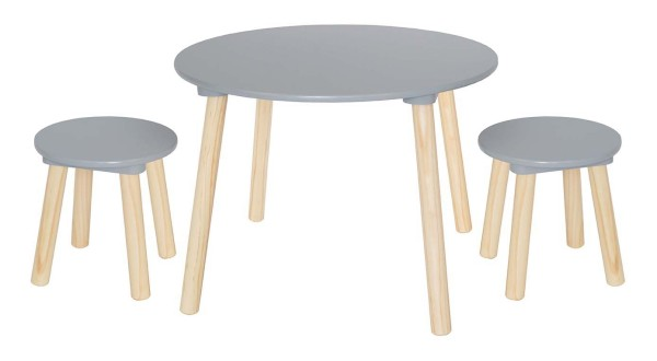 Table ronde 2 tabourets gris
