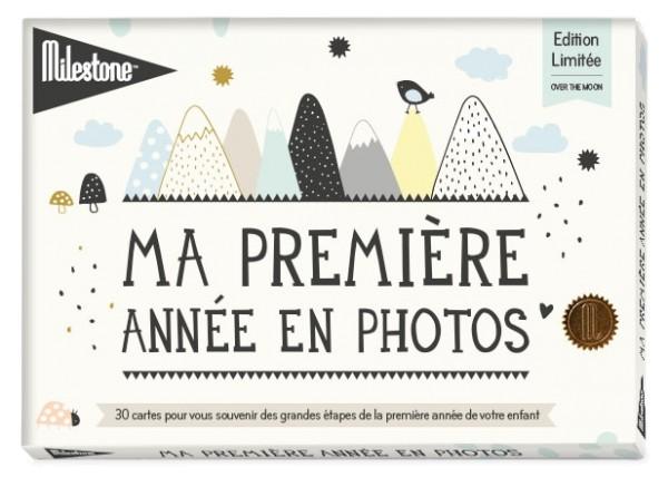 """Cartes photos """"Ma première année en photos"""" - collection """"Sur la lune"""" - boîte filmée"""