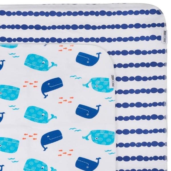 Couvertures flanelle (set de 2) - baleine/bleu
