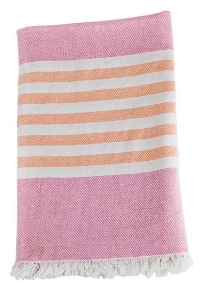 Serviette de plage (Turkish Towel) - Rose / abricot