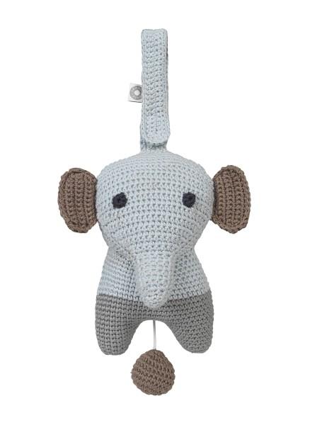Peluche musicale Hella éléphant gris